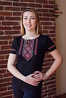 Жіноча вишита футболка Традиційна червоно-сіра