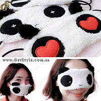 """Маска для сна - """"Panda"""" - модель с сердечками, фото 1"""