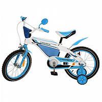 """Детский велосипед для девочек и мальчиков со страховочными колесами (голубой) 12"""" на 3 года"""