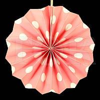 Веер розовый   в большой горох 20см