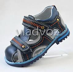 Босоножки, сандалии для мальчика тёмно синие кожа Kellaifeng 22р.