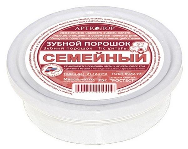 АРТКОЛОР Зубной порошок Семейный 75г (5382)