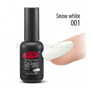 Гель лак PNB Snow White белый, эмаль, 8 мл.