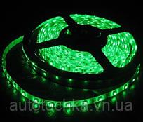 Светодиодная лента зеленая на белой основе в силиконе 60 SMD (3528) 12V / 5 м