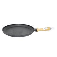 Сковородка чугунная литая с деревянной ручкой 26см,h-2,5см..
