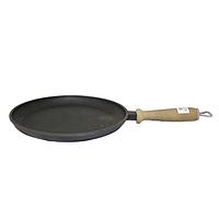 Сковорода чугунная литая с деревянной ручкой 24см,h-2,5см..