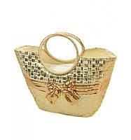 Золотистая женская сумка Корзина