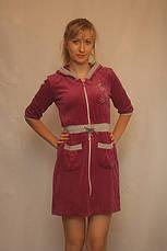Велюровый халат с трехчетвертным рукавом, фото 3