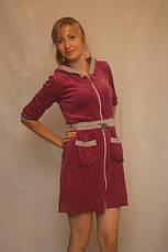 Велюровый халат с трехчетвертным рукавом, фото 2