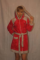 Махровый халат на молнии с ушами
