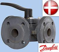 Клапан поворотный регулирующий поворотный (трехходовой фланцевый) Ду 80 HFE 3 Kvs 150 PN 6 Danfoss