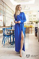 Платье рубашка  женская с поясом в синем цвете