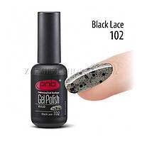 Гель лак PNB Black Lace полупрозрачный черный с микроблеском и крупными блестками, 8 мл.