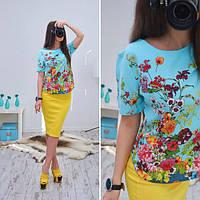 """Блузка стильная модная """"Цветы"""" с коротким рукавом разные расцветки SRB81"""