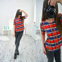 Блузка стильная модная в клетку с коротким рукавом разные расцветки SRB82