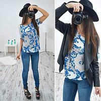 Блузка стильная модная с коротким рукавом в абстрактный принт разные расцветки SRB83