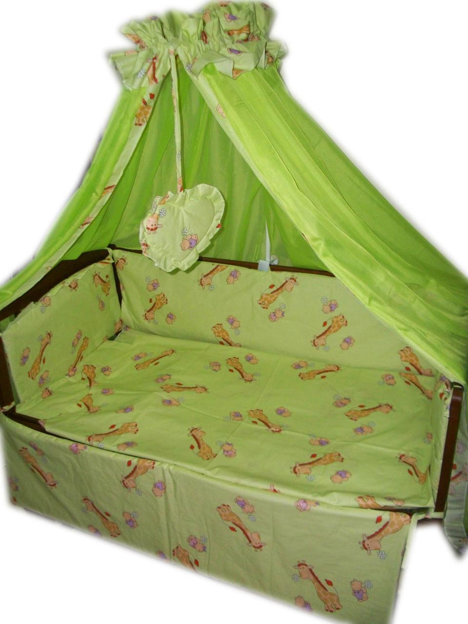 Набор в детскую кроватку Жирафики салатовые 10 эл.