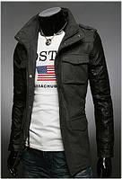 Куртка комбинированная Осень-зима из кашемира и эко кожи 317