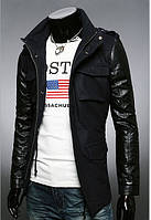 Куртка комбинированная Осень-зима из кашемира 317 черная и антрацит