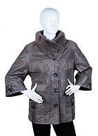 Кожаная куртка женская короткая бежевая D1571