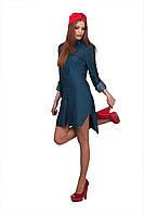 Женское стильное джинсовое платье-рубашка с красными пуговицами + повязка