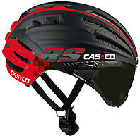 Велошлем с визором Casco SPEEDairo RS black-red (MD), фото 1