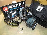 Компрессор, 12V, 10Атм, 35л/мин, фонарь LED,прикуриватель, кабель 3м, шланг 1м,. DK31-105