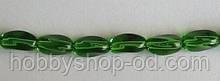 Намистина Овал кручений колір зелений 6*9 мм