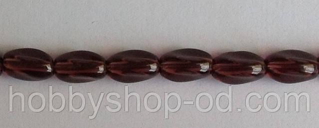 Бусина Овал крученый цвет виноградный  6*9 мм