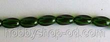 Намистина Овал кручений колір зелений темний 6*9 мм