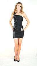 Нарядное красивое коктейльное чёрное платье с воланами., фото 3