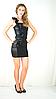 Нарядное красивое коктейльное чёрное платье с воланами.