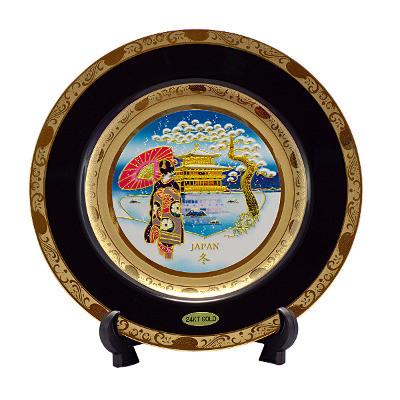 Японская сувенирная тарелка «Зимний пейзаж»