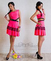 Платье Малиновый неон с открытыми боками