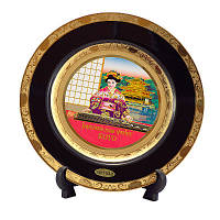Японская сувенирная тарелка «Майко и золотой храм»