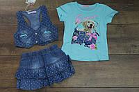 Джинсовый костюм- тройка для девочек 1- год.
