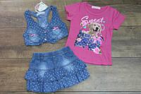 Джинсовый костюм- тройка для девочек 1 год