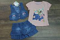 Джинсовый костюм- тройка для девочек 1-  год