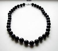 Бусы из камня Черный агат прессованный(12 мм)