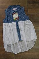 Рубашка для девочек ( Джынс+ шифон ) 6 и 8 лет