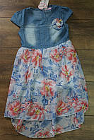 Платье для девочек ( Джинс+ шифон ) 8- 16 лет