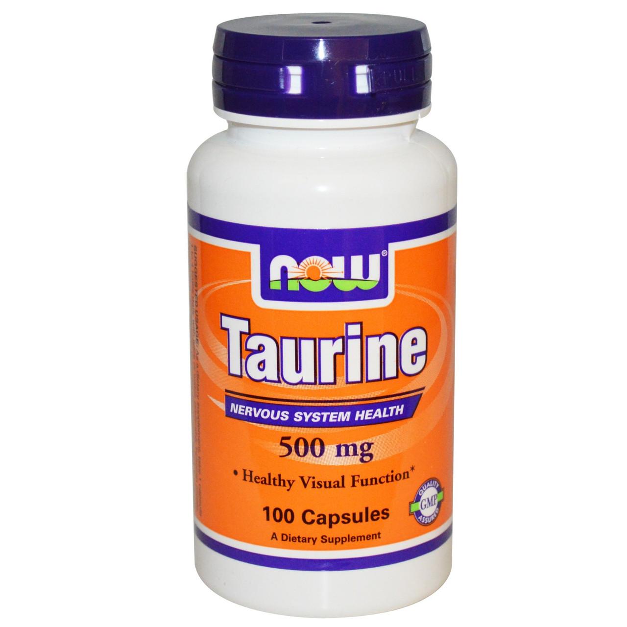 Таурин, Now Foods, 500 мг, 100 капсул. Сделано в США.
