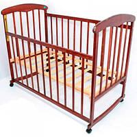 Деревянная кроватка-качалка для детей с колесами Наталка