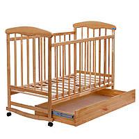 Кроватка-качалка деревянная на колесах с ящиком Наталка