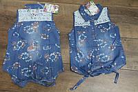 Джинсовая рубашка для девочек 4- 12 лет