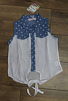 Джинсовая рубашка с шифоном 4- 10 лет