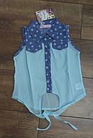 Джинсовая рубашка с шифоном 4- 8 лет