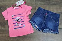 Костюм с джинсовыми шортами 1- 2 года