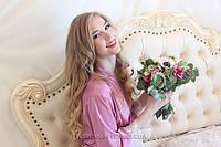 """Шёлковый халатик с кружевом и надписью """"Bride"""" из страз Swarovski серо-розовый"""