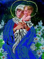Схема для вышивания бисером икона Мадонна с младенцем в лилиях КМИ 4061
